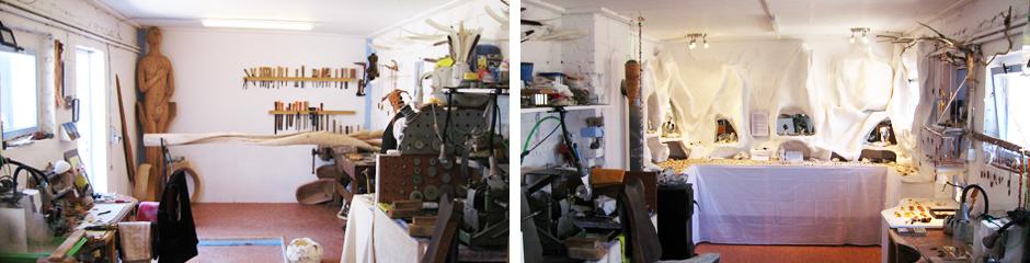 Innenansichten des Atelier Donnerkeil mit den Arbeitsbereichen und der Ausstellungswand für die Exponate.