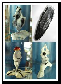 Vorschaubilder Feurestein Kleinskukpturen. Arbeiten des Graveurs und Edelsteinplastikers Matzi Müller, Atelier Donnerkeil, Kunst auf Kap Arkona.